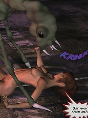 Olivia felt the tentacle pushing deep into her pussy and screamed with pleasure!