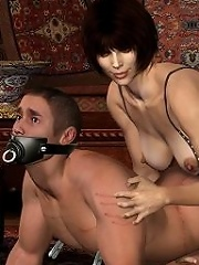 3D Lesbian gets forced to blow and comes