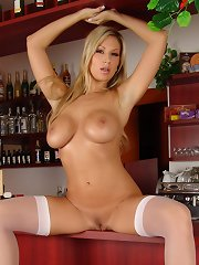 Carol Goldnerova strips and shows her melons and shaved twat