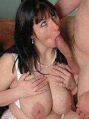 Big tits Josephine James sucks prick stiff for pussy fucking