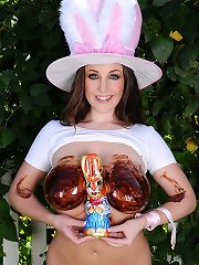 Easter babe melts chocolate eggs