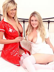 Horny blondes with gigantic boobs