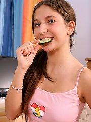 Naughty teenage girl toying pussy