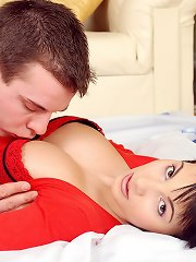 Busty girl riding lucky erection