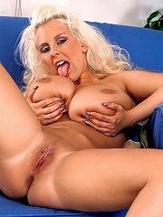 Two boobiferous British lesbian pornceleb in public nudeness showing off their oversized mammaries.