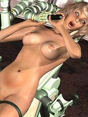 Hot blonde fucked by a mechanical dildo