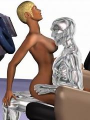 Busty 3D Secretary slams Monster