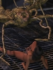 The monster grabbed her leg with one tentacle and analyzed her pussy with the other