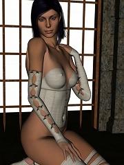 Brunette poses in white lingerie in 3d