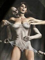 3D Secretary gets screwed by 3D Cyclop Monster