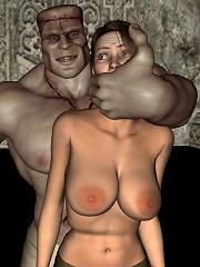 3D Whore slams 3d Tentacles penis untill ripped