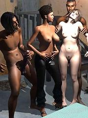 Tramp strokes 3D Demons dick till got tittyfucked