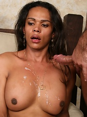 Dude nails tranny and shoots his load on her tits