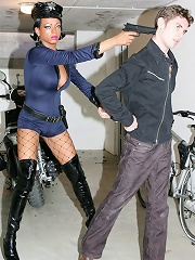 Naughty gay criminal punished by ebony shemale law