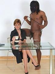 Milf teases black cock