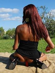 Raunchy black beautie Veronika toying her sweet tight ass
