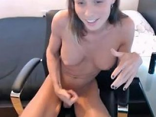 Cute Skinny Tranny Perfect Boobs Playing With Shaved Cock 2