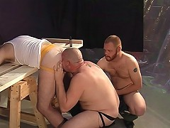 Two big dicks for a horny gay bear
