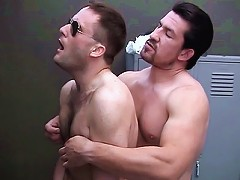 Sexy bear Blake Andrews has his nipples squeezed and his ass fucked by hot gay bear Joe Romero