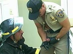 Fireman loves tasting a cops cock