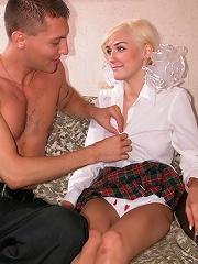Pretty blonde in white socks feels dick in loving holes.