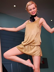 Tiny teen strips out of dinner dress