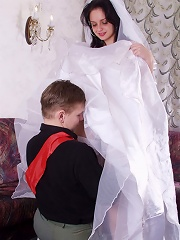 Sweet-looking bride gets fucked before wedding ceremony.