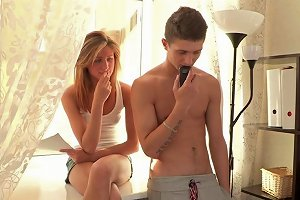 Sexy Blond Teen Is Getting Fucked By That Stud