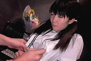 Petite Asian Schoolgirl Gives Thighjob