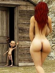Steamy 3D Evil Priestess is screwed by Alien