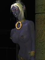 Sexy Dark Elf strips