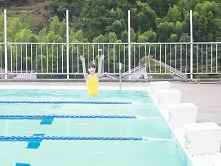 Japanese Girl Swim In Pool With Yellow Swimsuit Soft