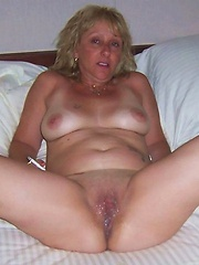 Horny grandmother fucked on her side
