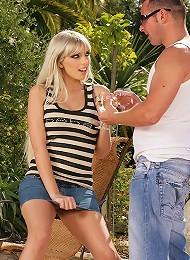 Blonde babe Stella sucks a fat cock