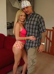 18 year old blonde vixen Hillary Scott pussy spreading and deepthroat