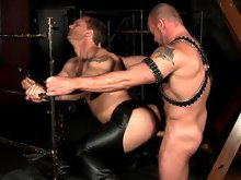 Muscle gay men in leather fuck doggy style