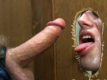 Studly cum whore gets gang-banged in a public toilet