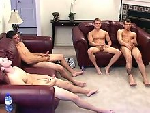 TommyD and 3 friends having some hot cock stroking action