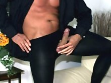 Marcello in sexy pantyhose and pulling his cock
