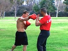 Boxing jocks get nasty in the ring before blowing loads on each other