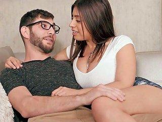 Beautiful Bosomy Latina Sexpot Ella Knox Gives Dude Titjob And Awesome Bj