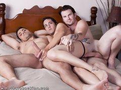 Gay bareback threesome videos
