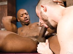 Big hairy gay bear gives a head and fucks this muscle black stud