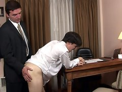 Sexy twink takes some nasty bare-butt spanking from mature man and sucks his creamy cock