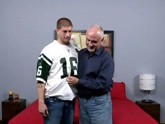 Older gay Jake pleases a young hunk Brec Boyd