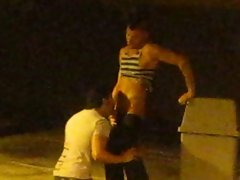 Underground parking gay blowjob caught on spy cam