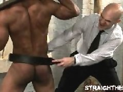 Straight ebony guy gets his butt spanked in bondage