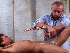 Cute boy gets his ass shaved and banged in bondage