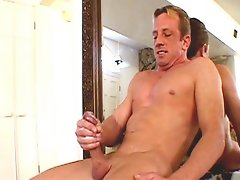 Mika Hawk strokes his rod before shooting cream on himself in these video clips