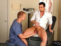 Phenix Saint and Robbie Ireland in this gay medical fucking scene